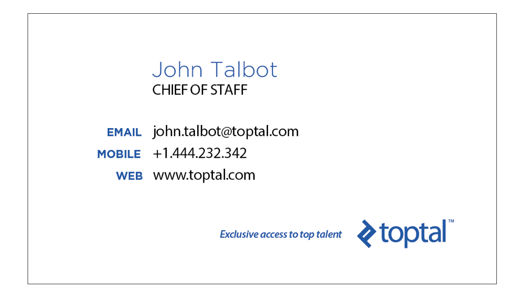 Front side of toptal business card