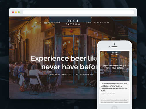 TEKU TAVERN - Web, Logo, Digital Menu, Print Menu and Collateral