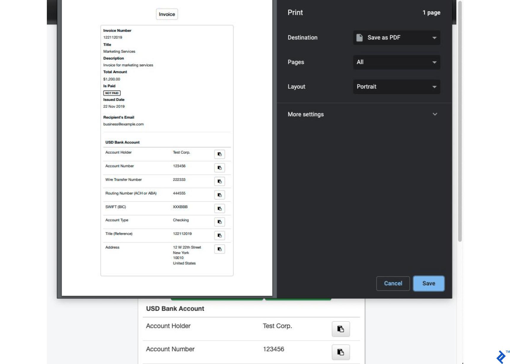 Invoice Printout