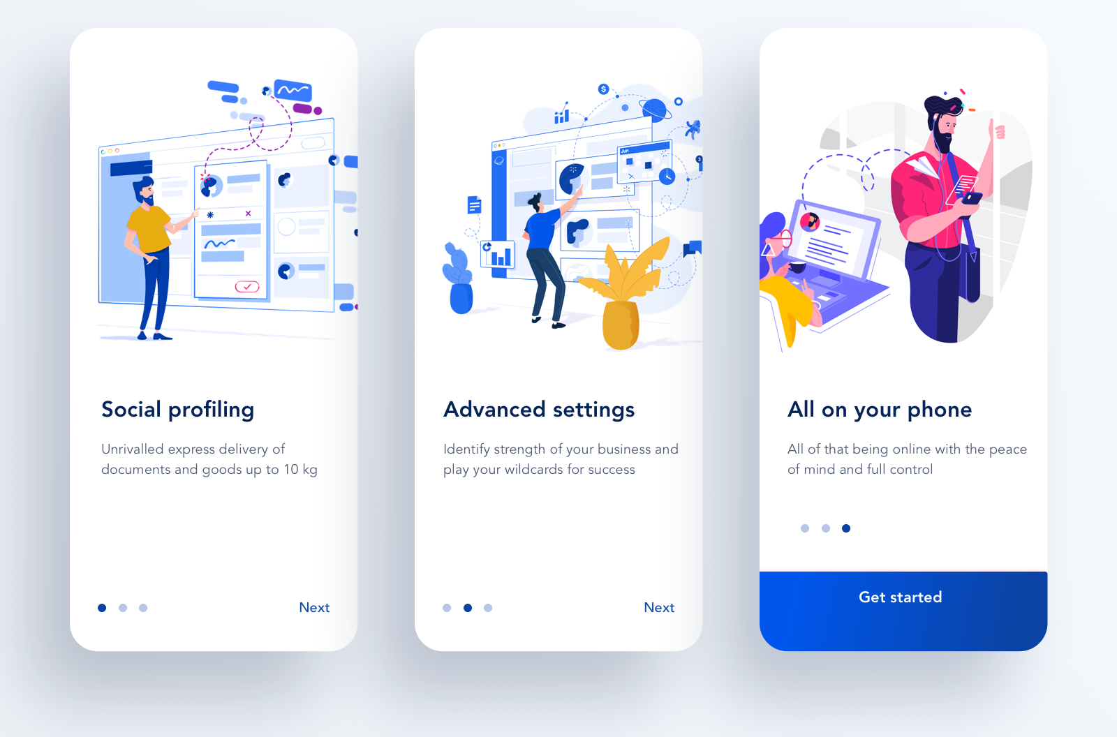 Cool illustrations used for mobile onboarding are part of the latest UX design trends