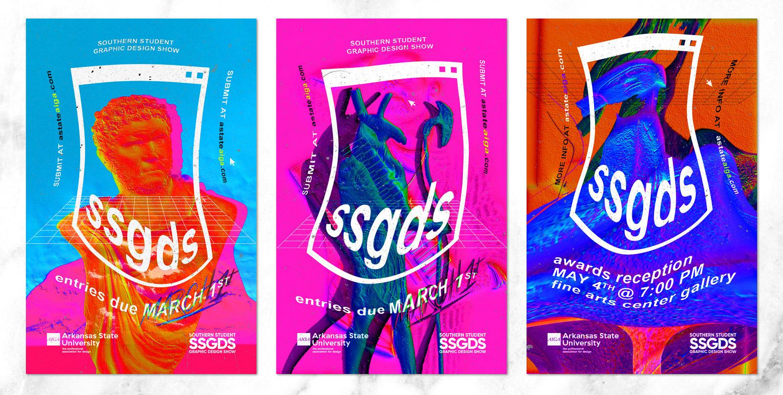 Maximalist design posters for the Southern Student Graphic Design Show