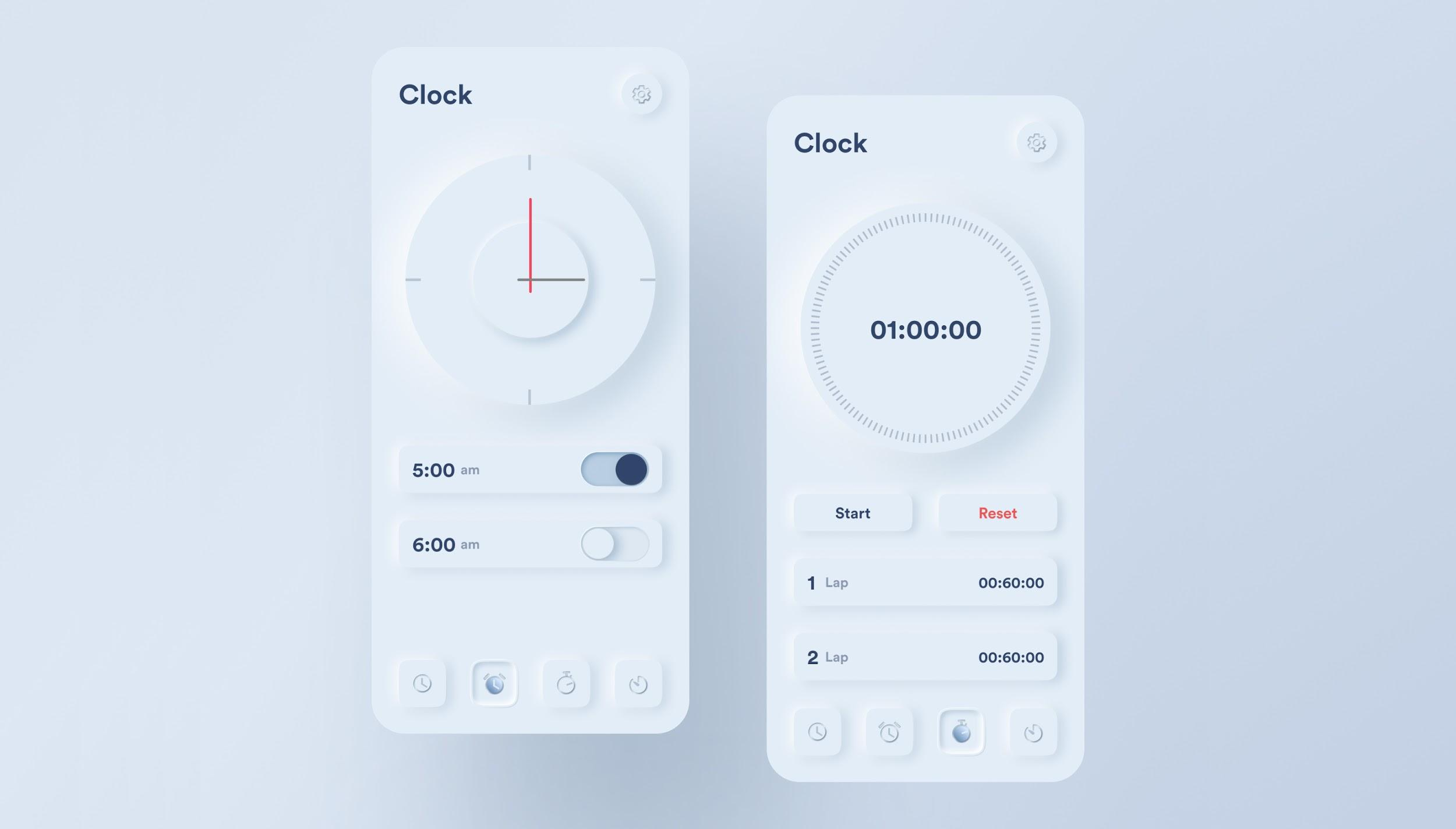 Neumorphic clock app, another mobile UX design trend