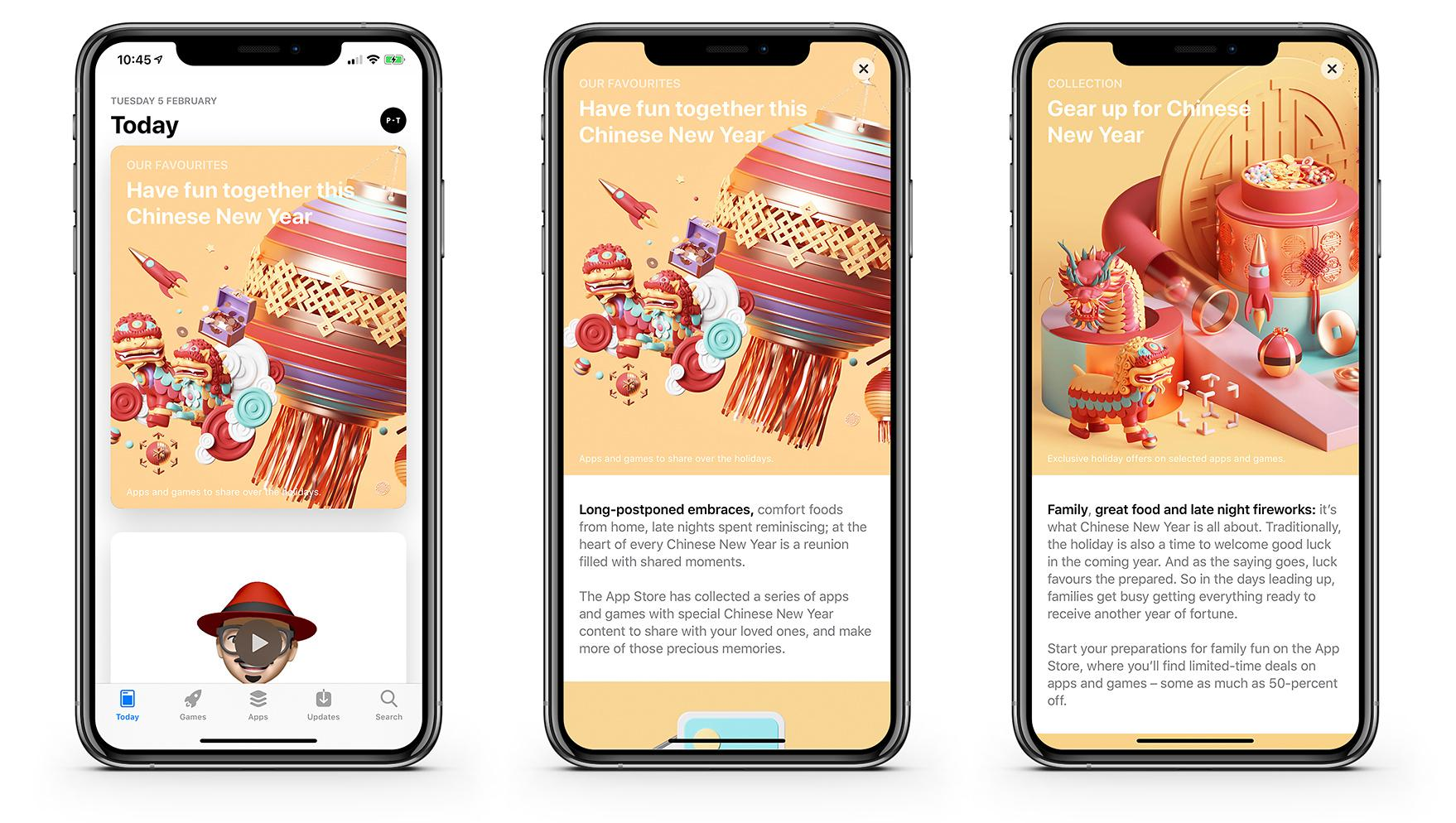 3D renders for Apple Chinese New Year promo 2019 UX design trend