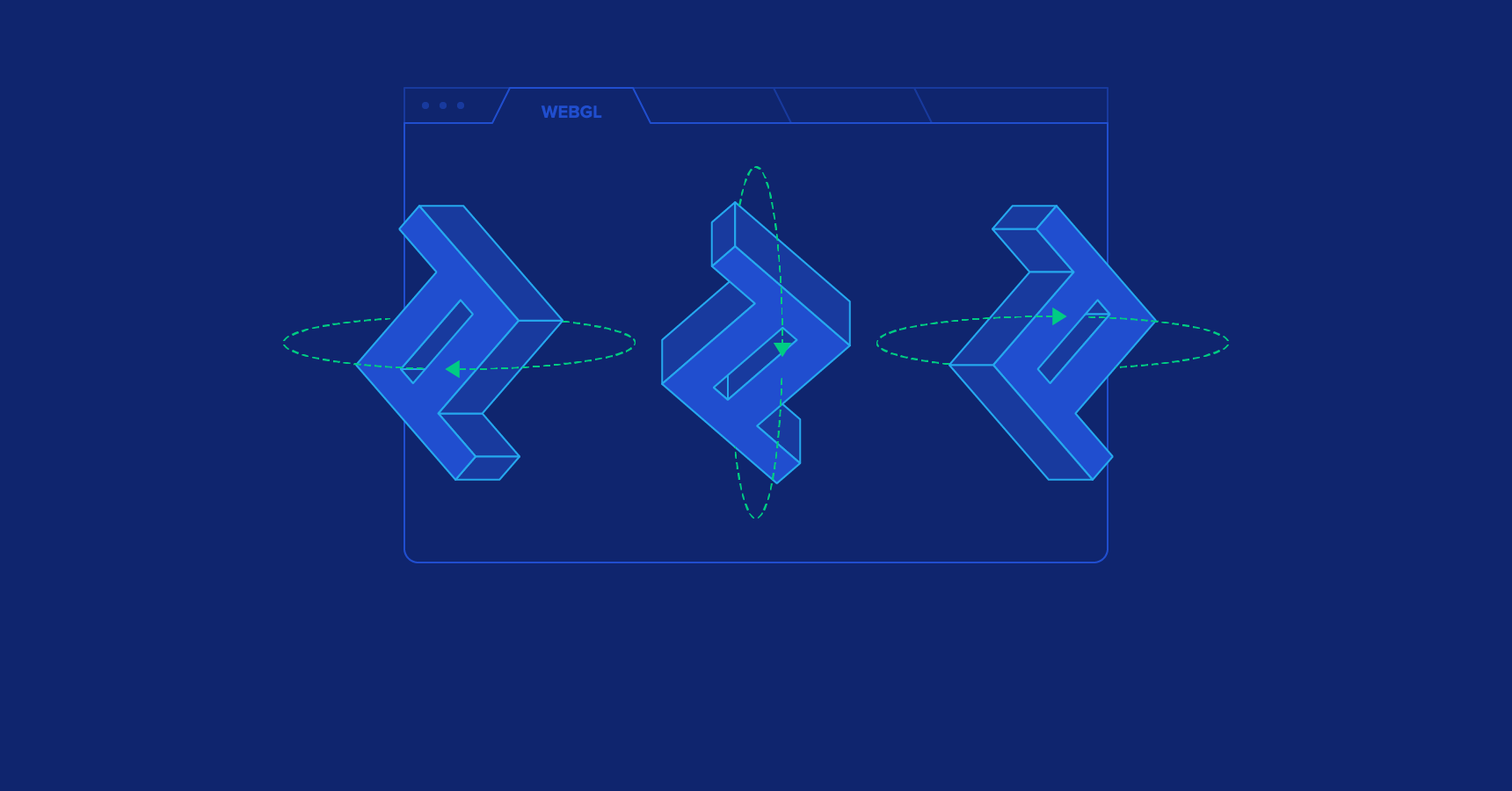 Illustration of a 3D Toptal logo on a WebGL canvas
