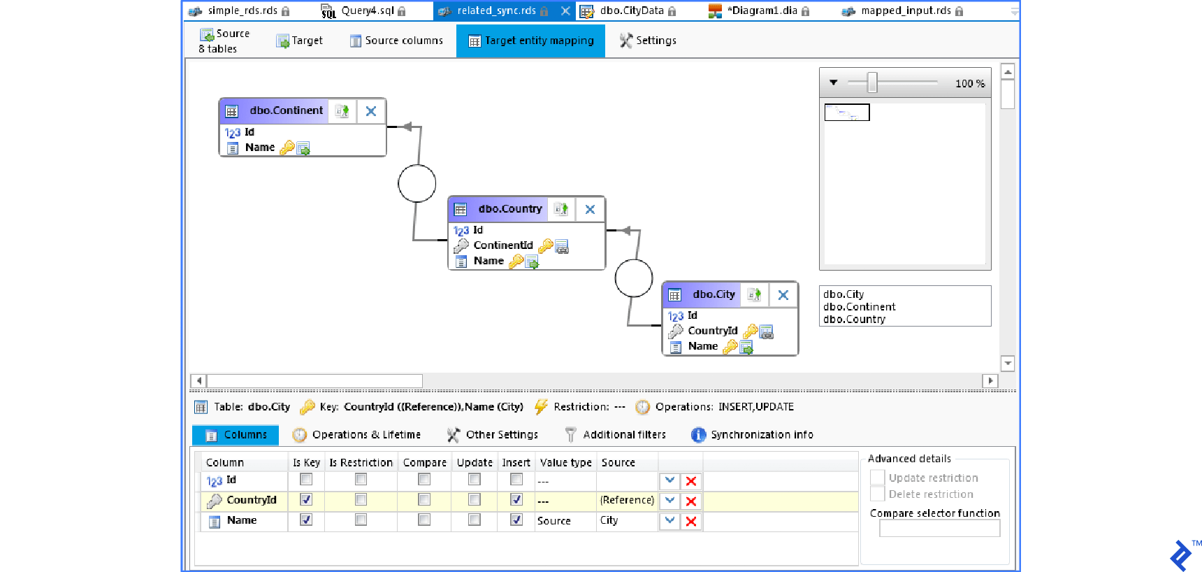 Editor for Data Synchronization in SQL Database Studio