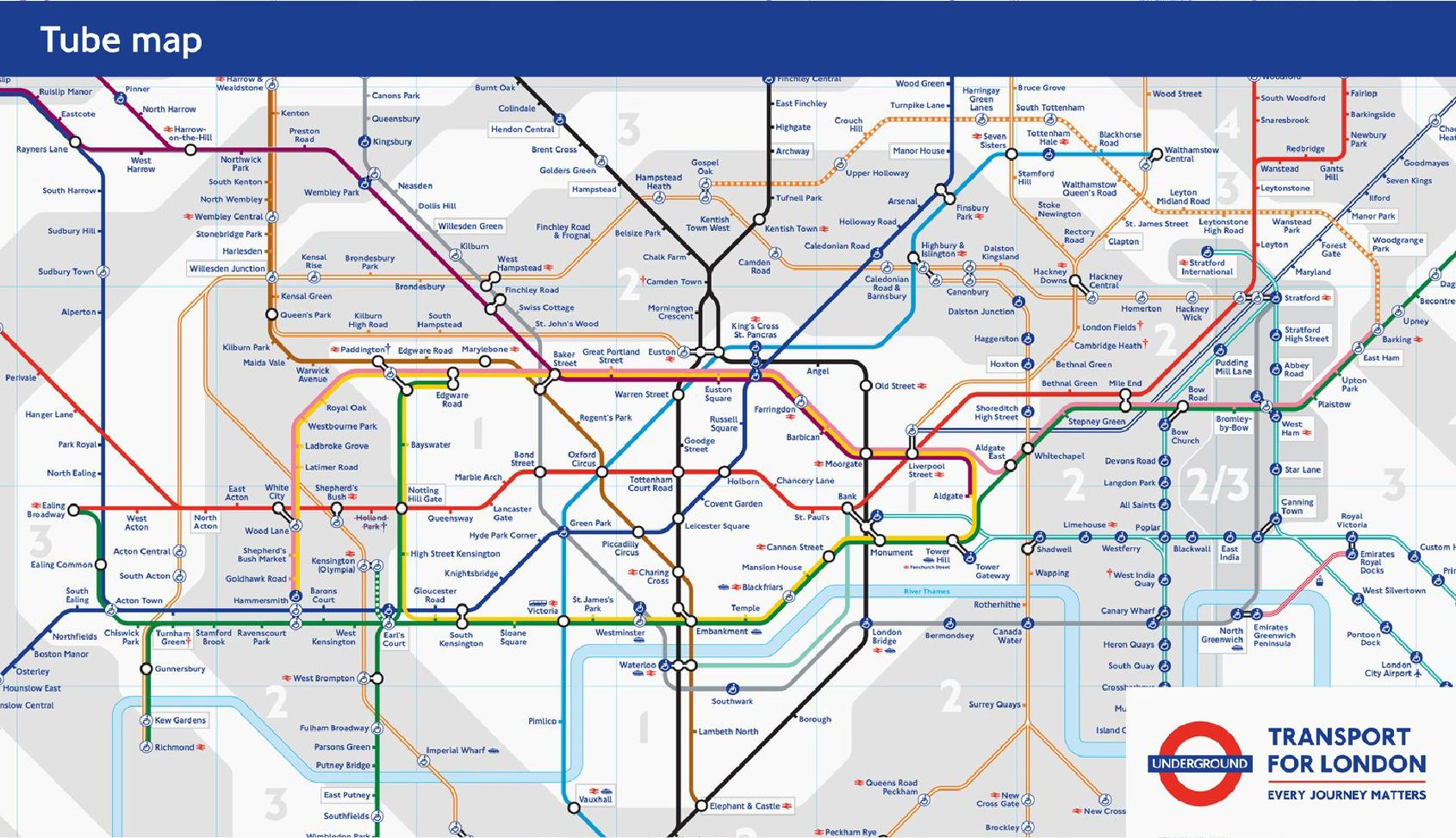 Navigational design mimics public transportation systems, like the London Underground.