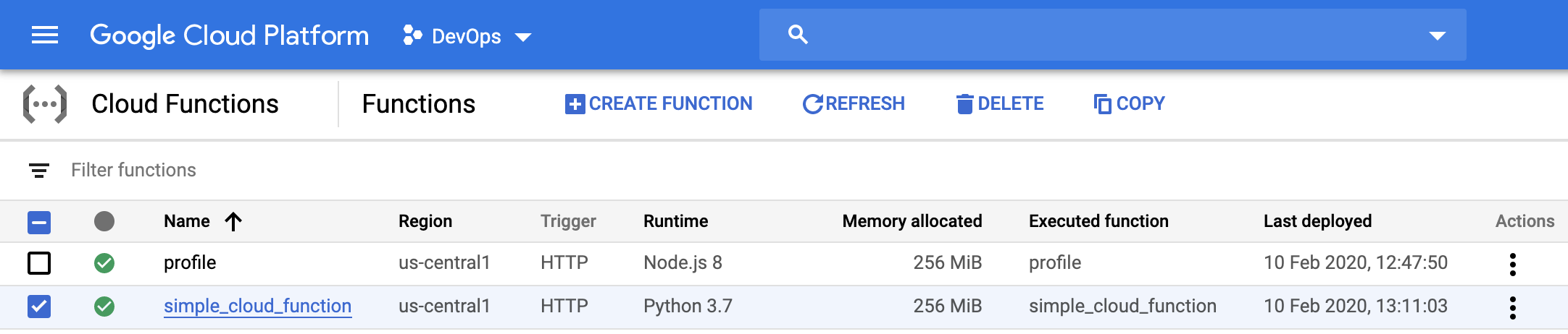Google Cloud Console: Functions