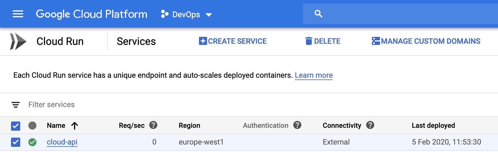 Google Cloud Console: Services