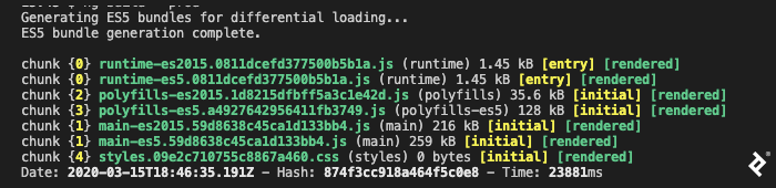 """A screenshot of Angular 9's """"ng build --prod"""" output. It starts with """"Generating ES5 bundles for differential loading..."""" After that's done, it lists several JavaScript file chunks—runtime, polyfills, and main, each with a -es2015 and -es5 version—and one CSS file. The final line gives a timestamp, hash, and a runtime of 23,881 milliseconds."""