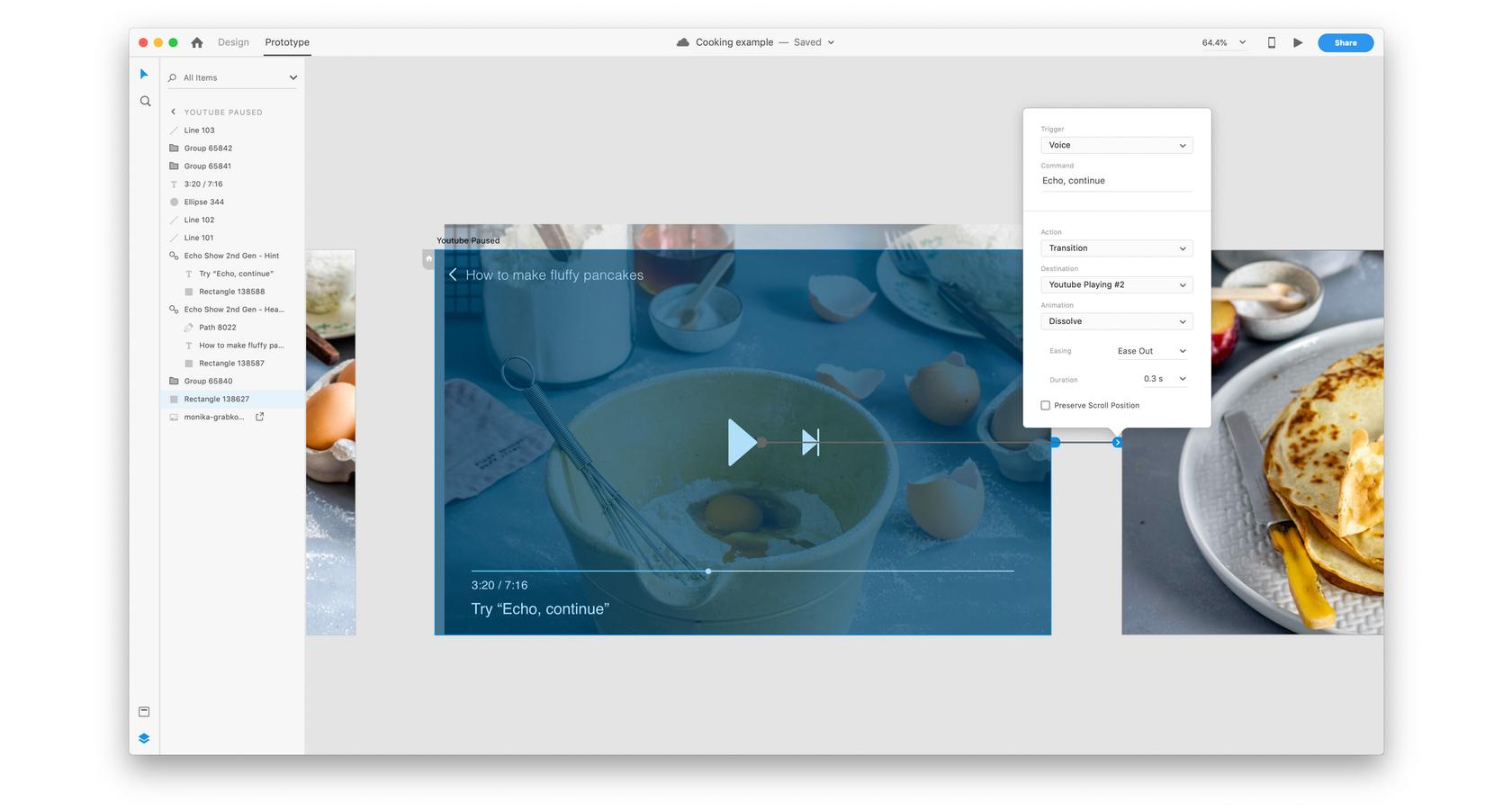 Adobe XD prototype showing multimodal design in action
