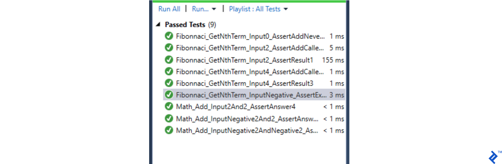 Example of a naming convention set up to easily search for a class or method within a class to be tested.