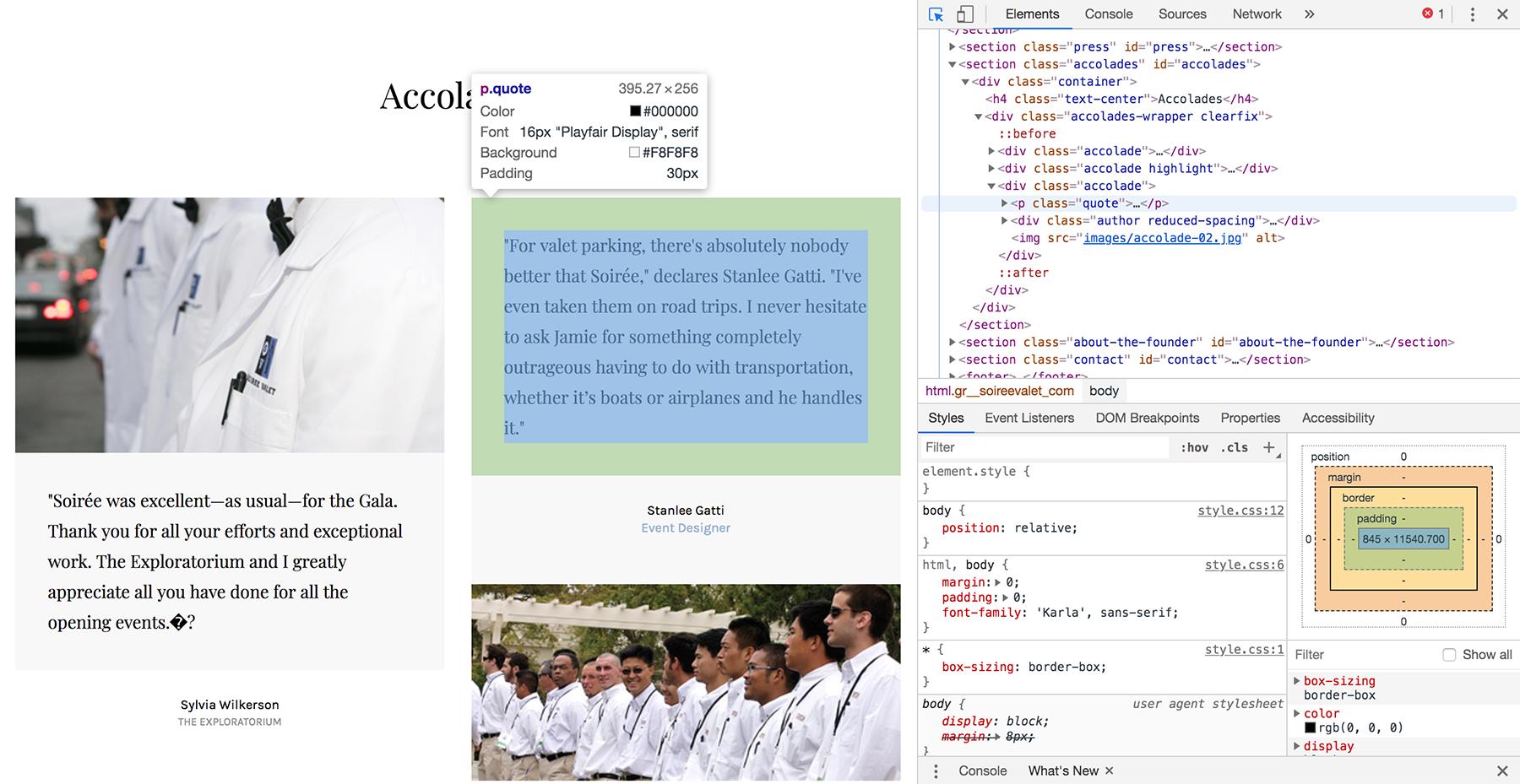 In-browser website design approach