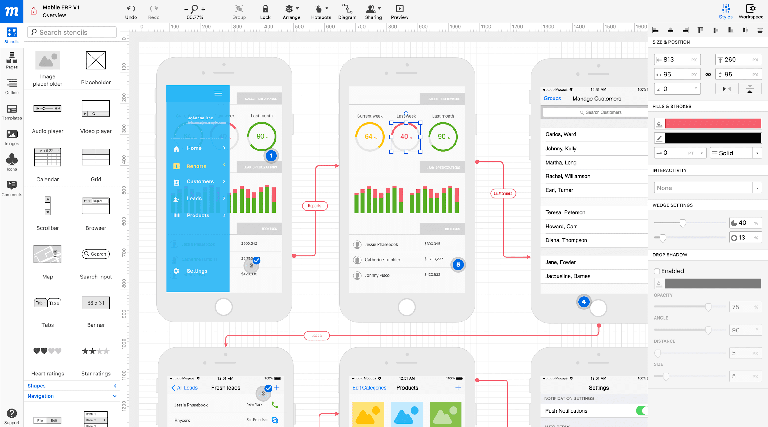 Moqups is a wireframe design tool focused on pure wireframing with added functionality.