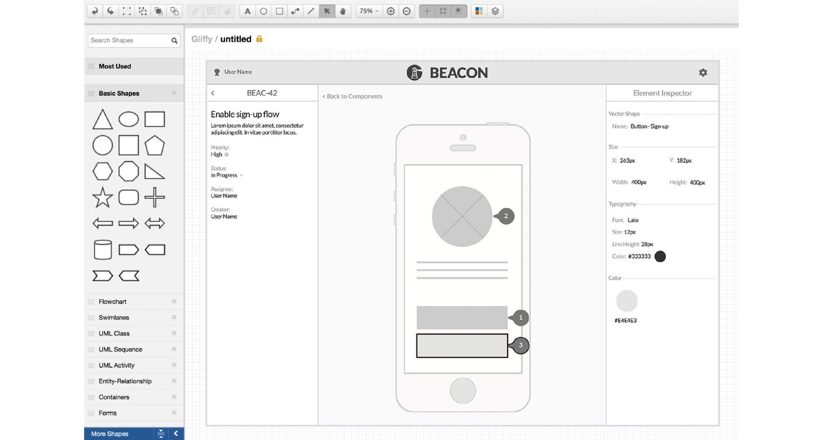 Gliffy is a mid-fidelity wireframe design tool with sharing and wireframing capabilities.