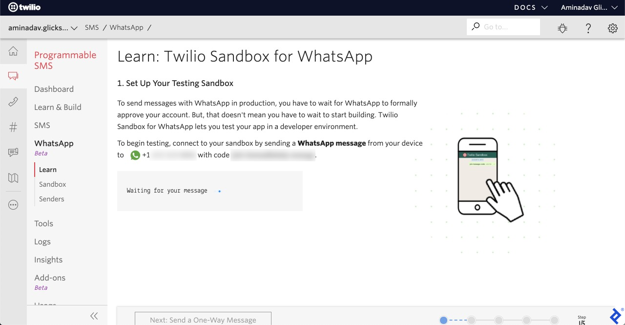 A screenshot of the setup step of Twilio's WhatsApp sandbox, waiting for a special WhatsApp message to be sent to a particular number.