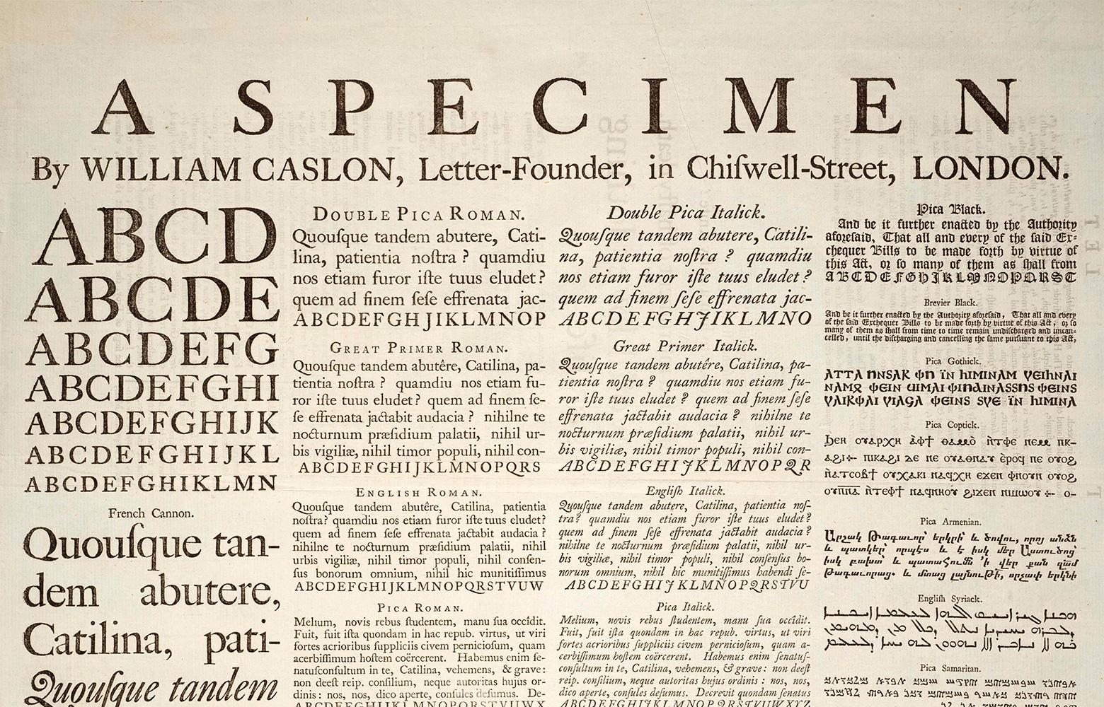 Specimen documents showed differences in typeface anatomy