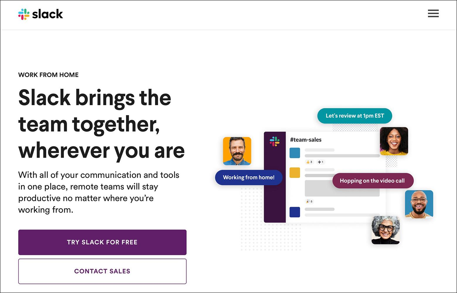 Slack follows homepage design best practices to create a user-focused design