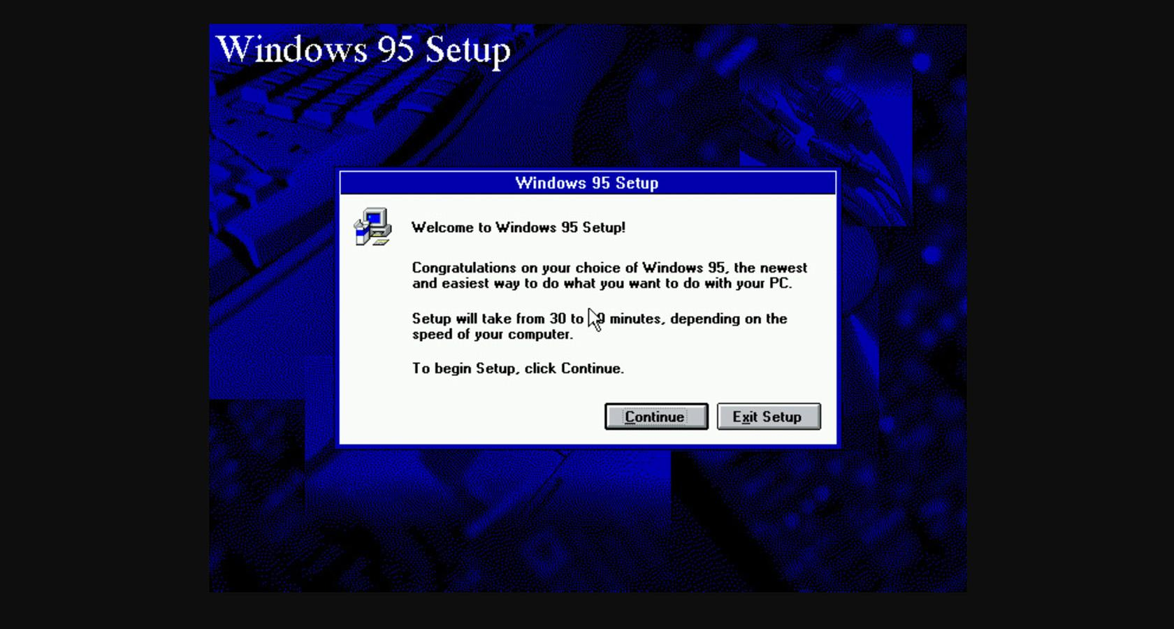 Creative copy in the Windows 95 setup wizard.