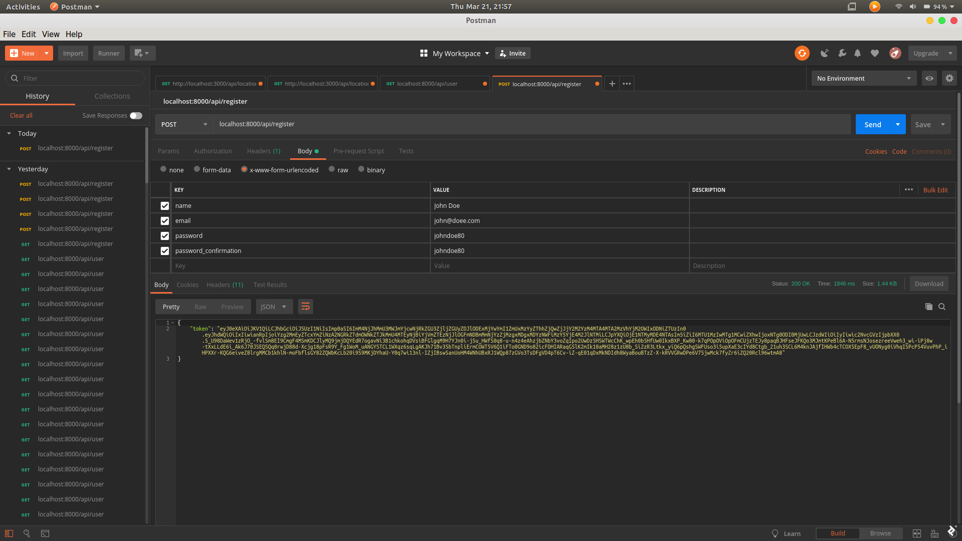 A screenshot of sending a POST request to /api/register using Postman.