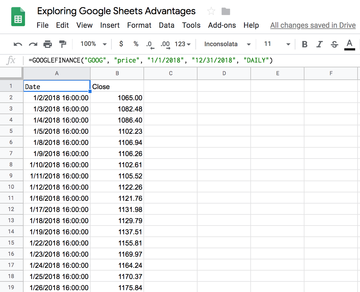 Example of GOOGLEFINANCE functionality in Google Sheets