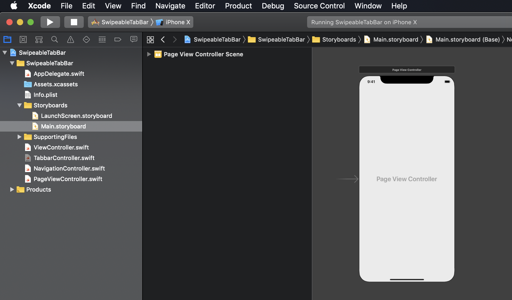 Screenshot: Xcode Controllers