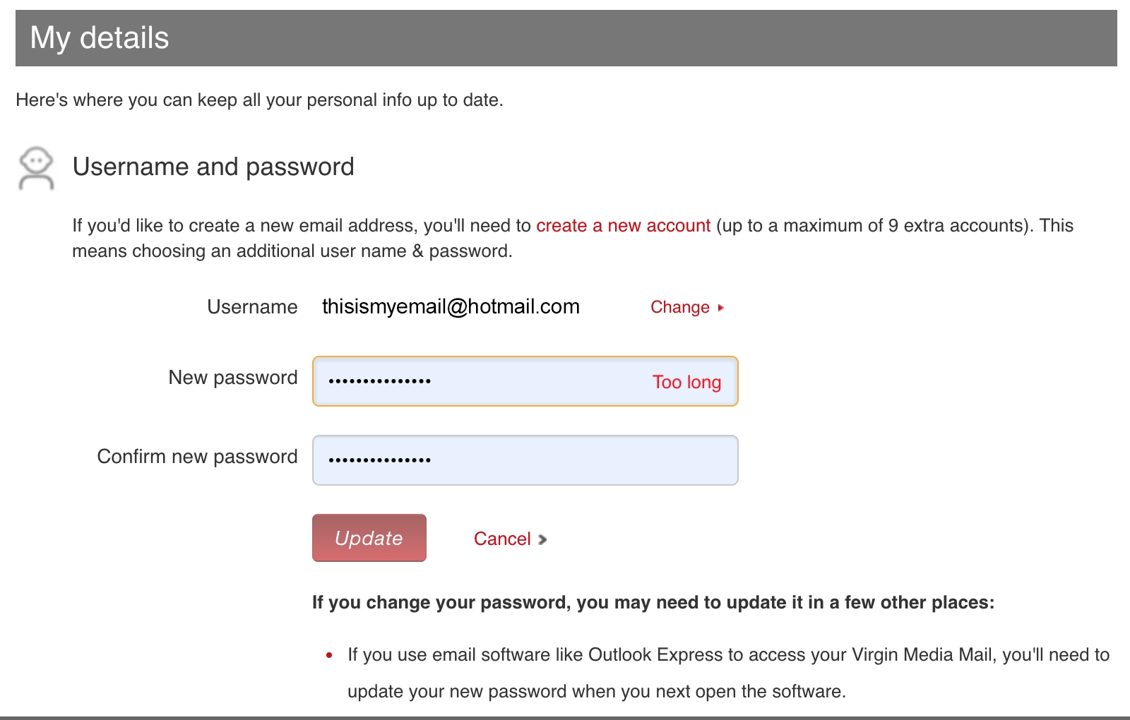 Reset password ux