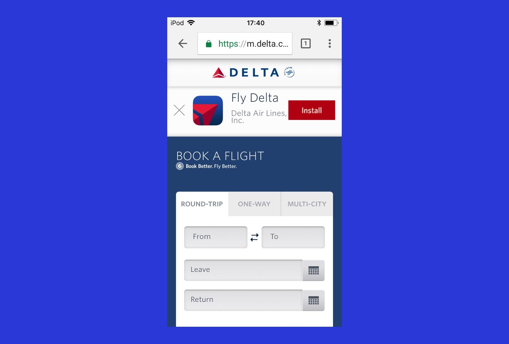 Delta's mobile website advertising their mobile app