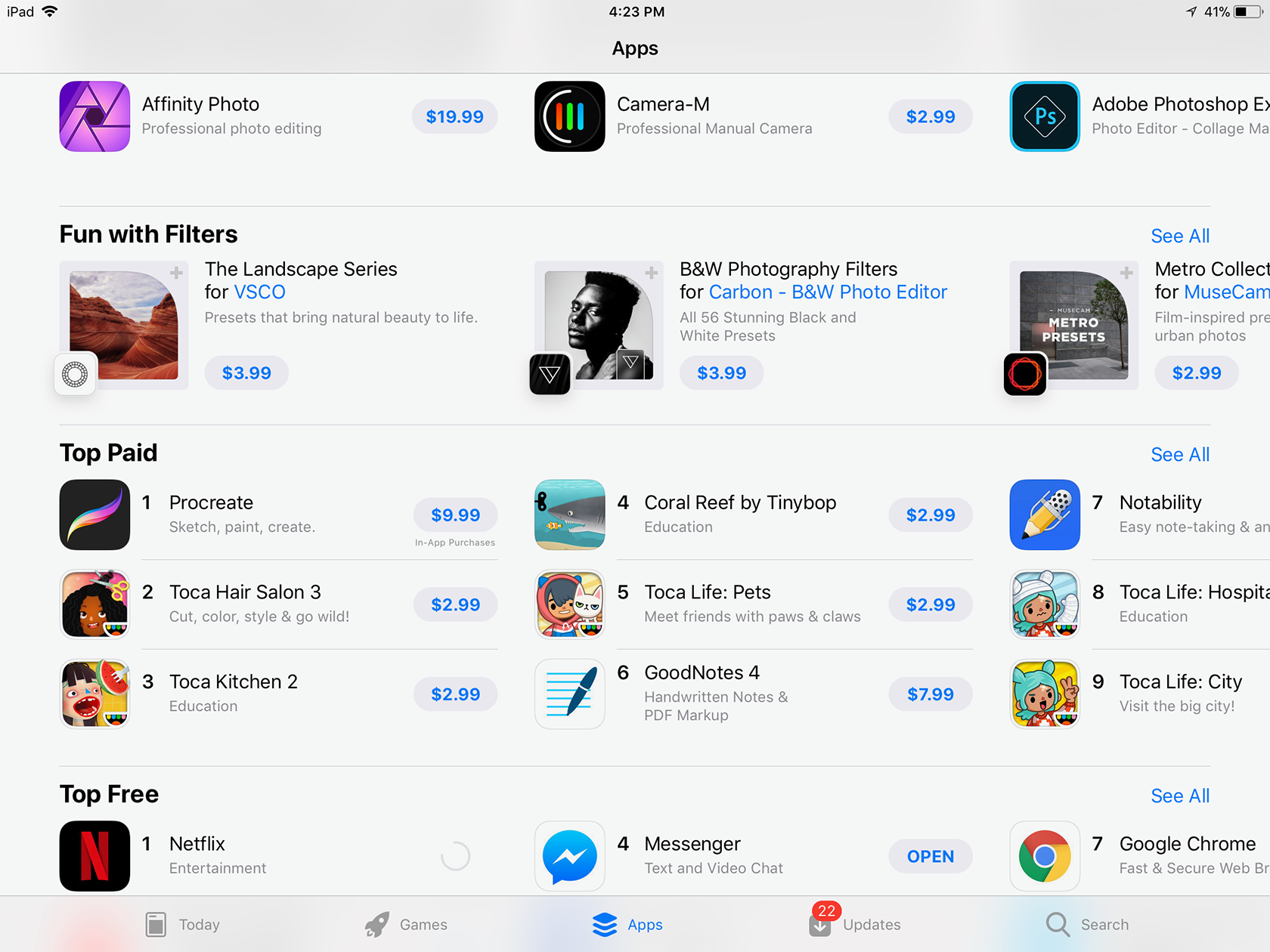iOS app store on iPad