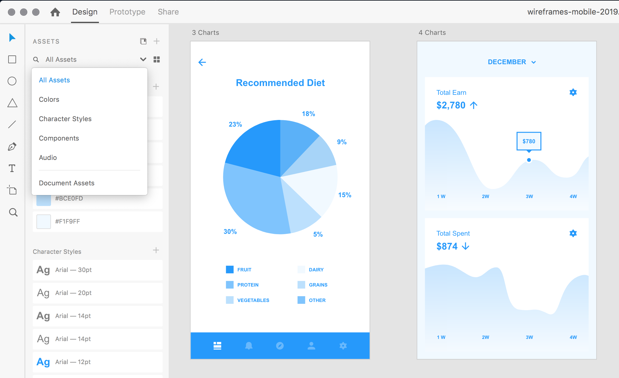 UX design tools Adobe XD UI review - the Assets panel