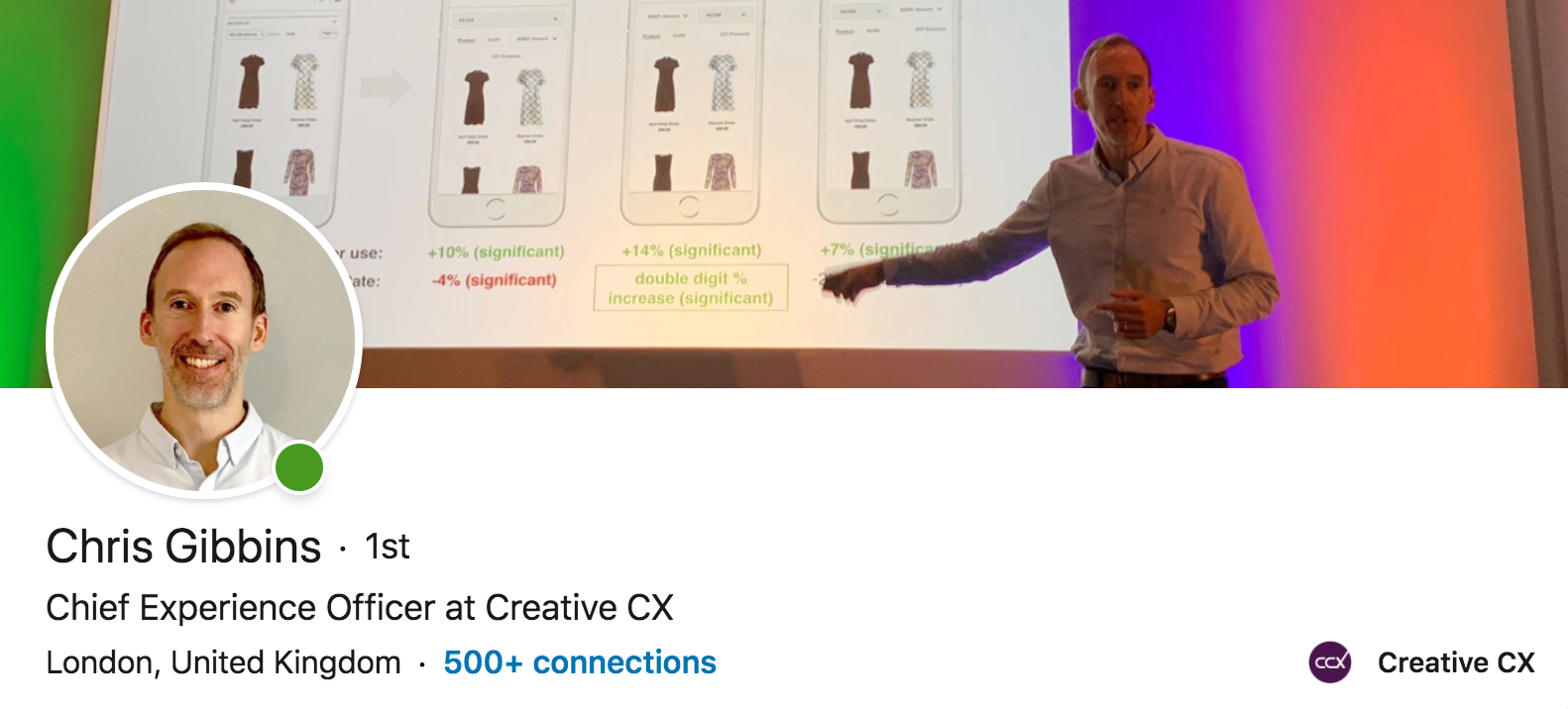 Chris Gibbins CXO talks about the evolution of ux design and experimental product design at an event