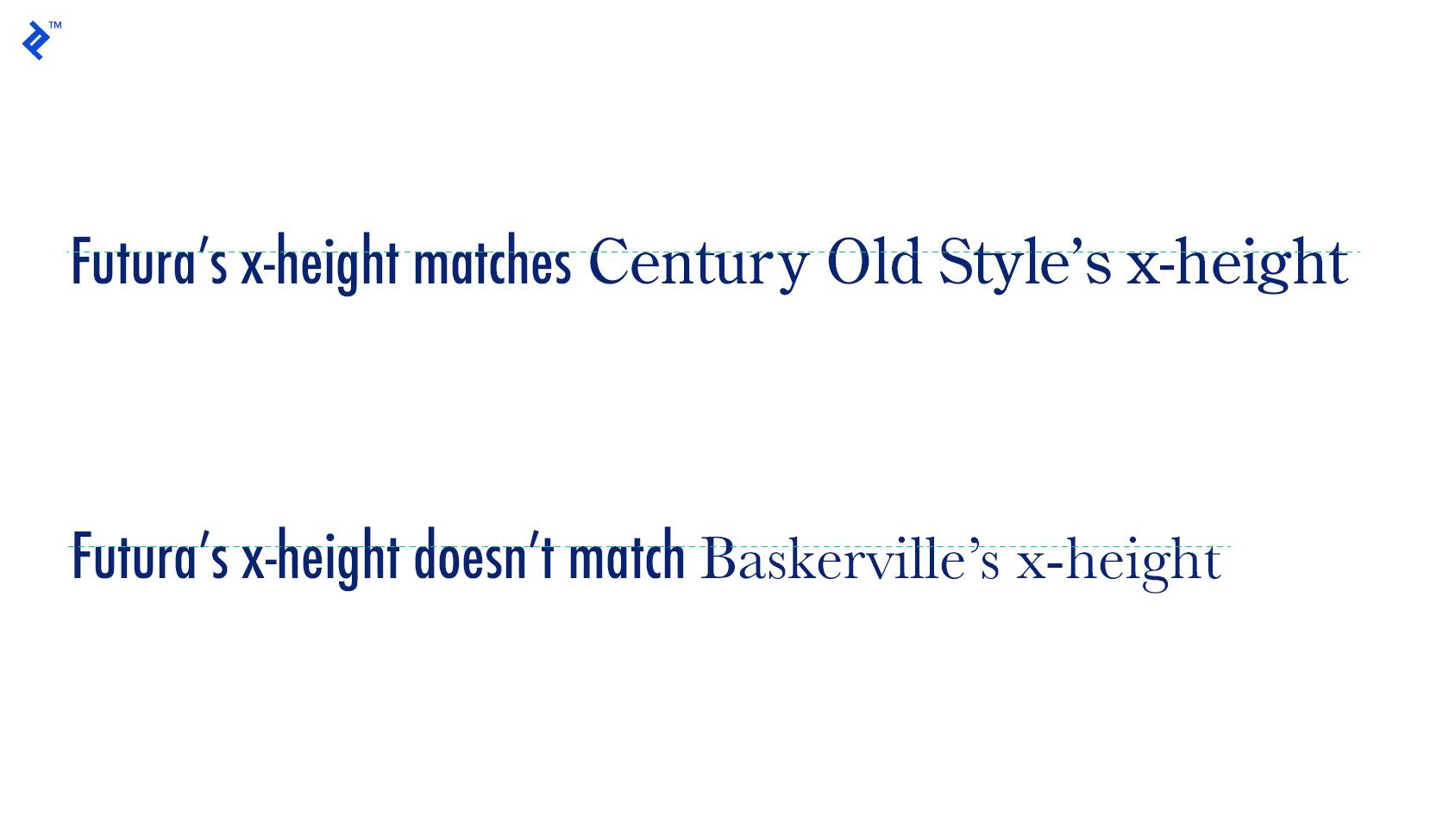 X-height is one consideration in effective type combinations.
