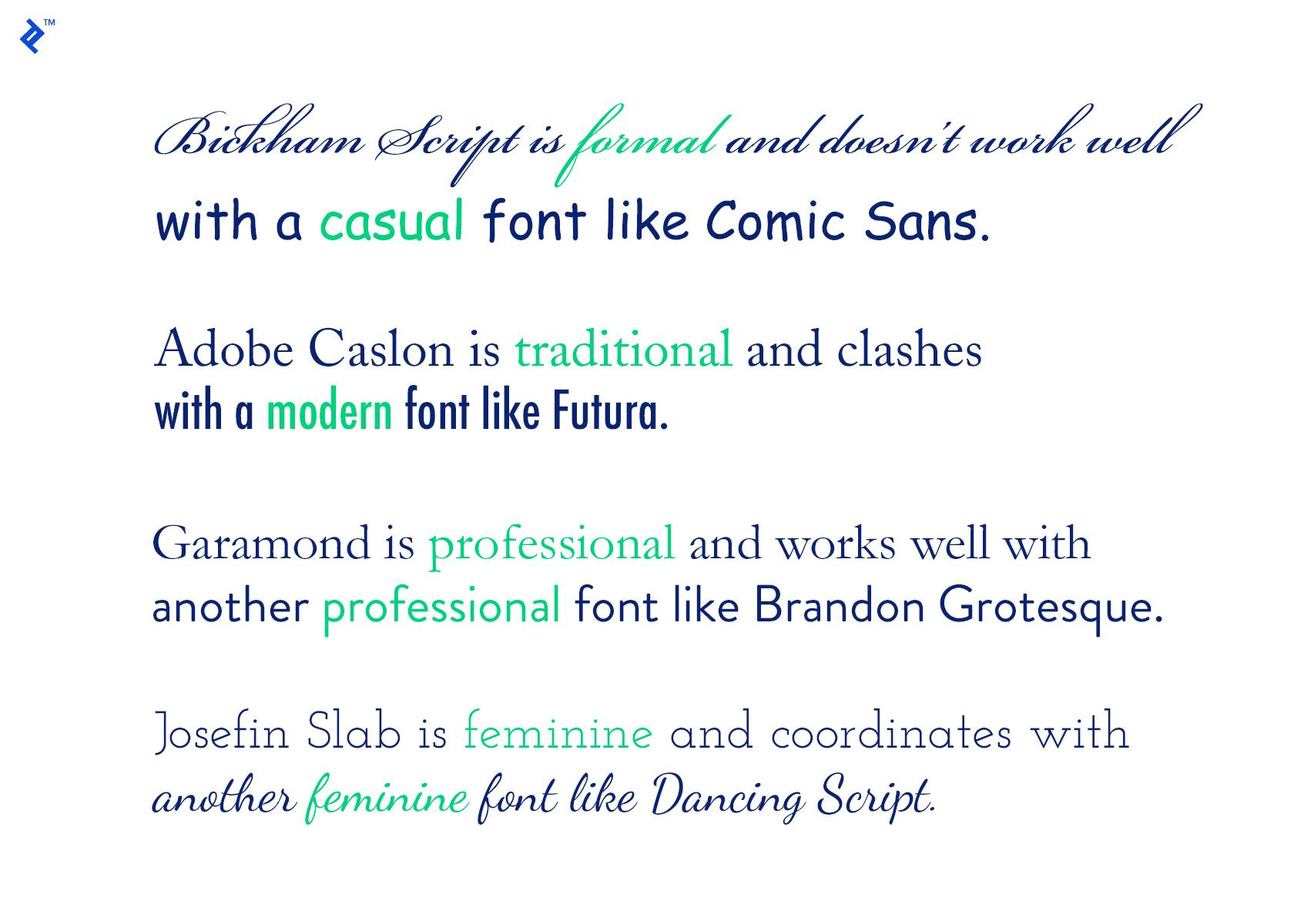 Effective font combinations have to take mood into consideration.