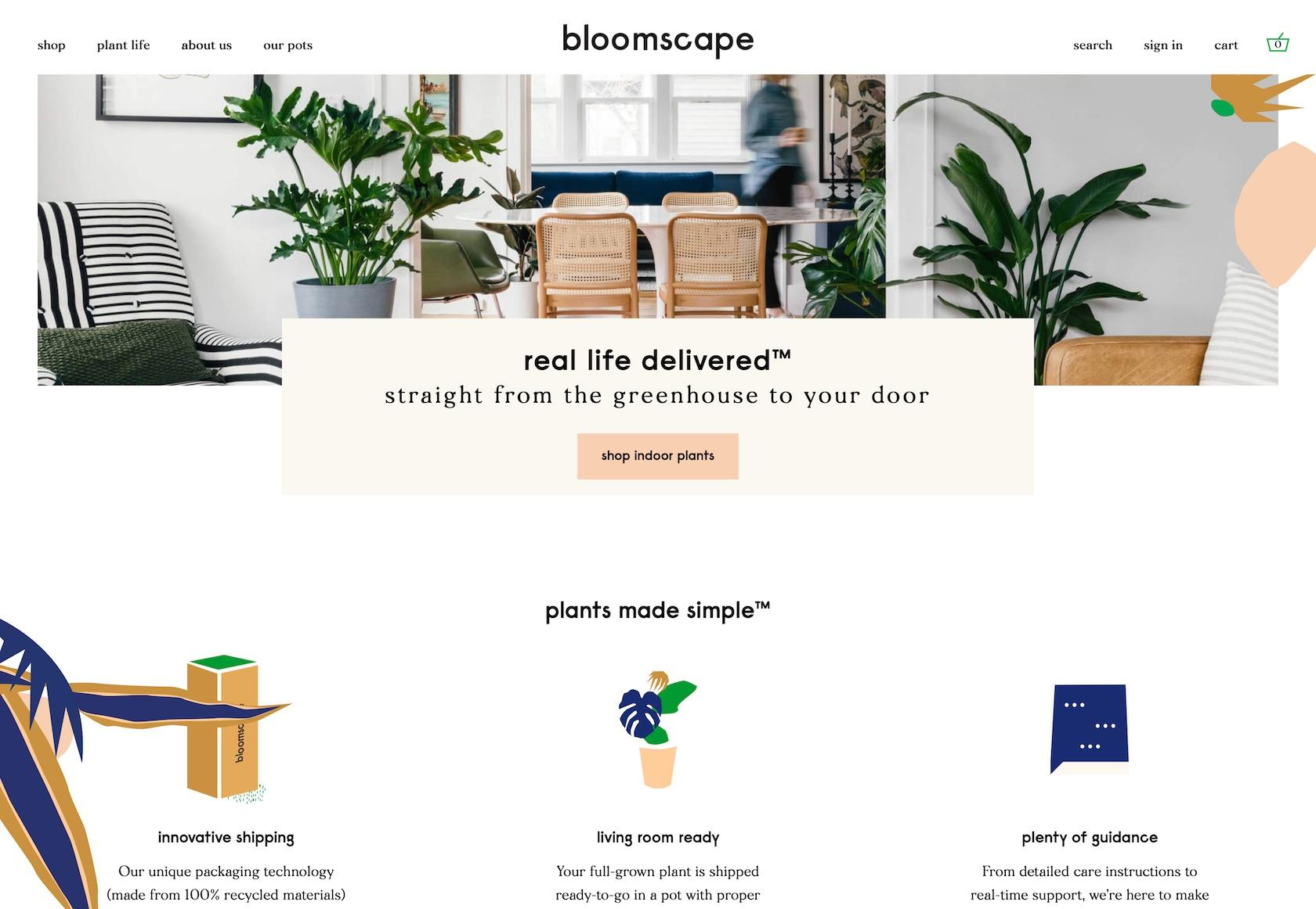 Using different types of fonts: Bloomscape