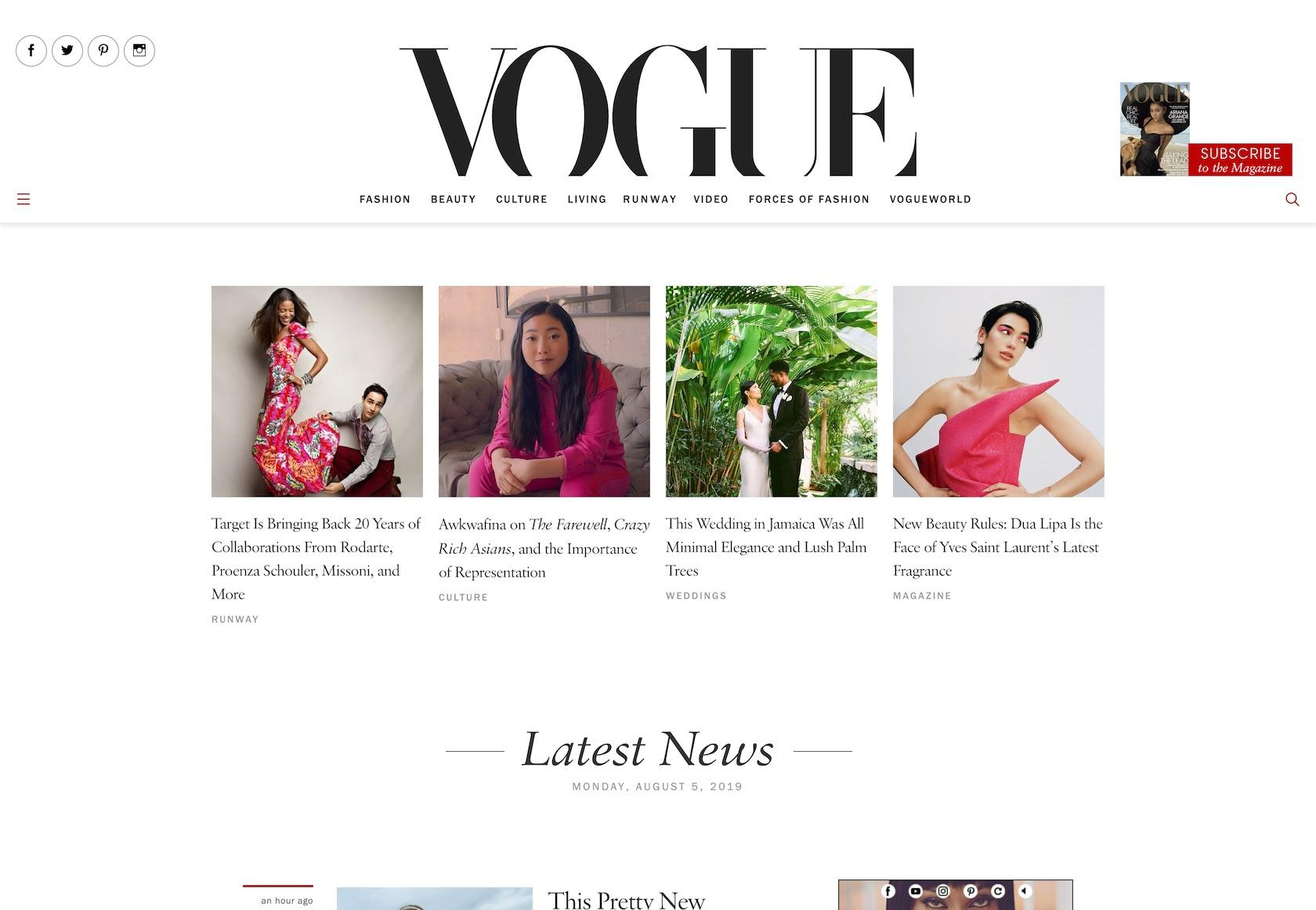 Good web font pairings: Vogue