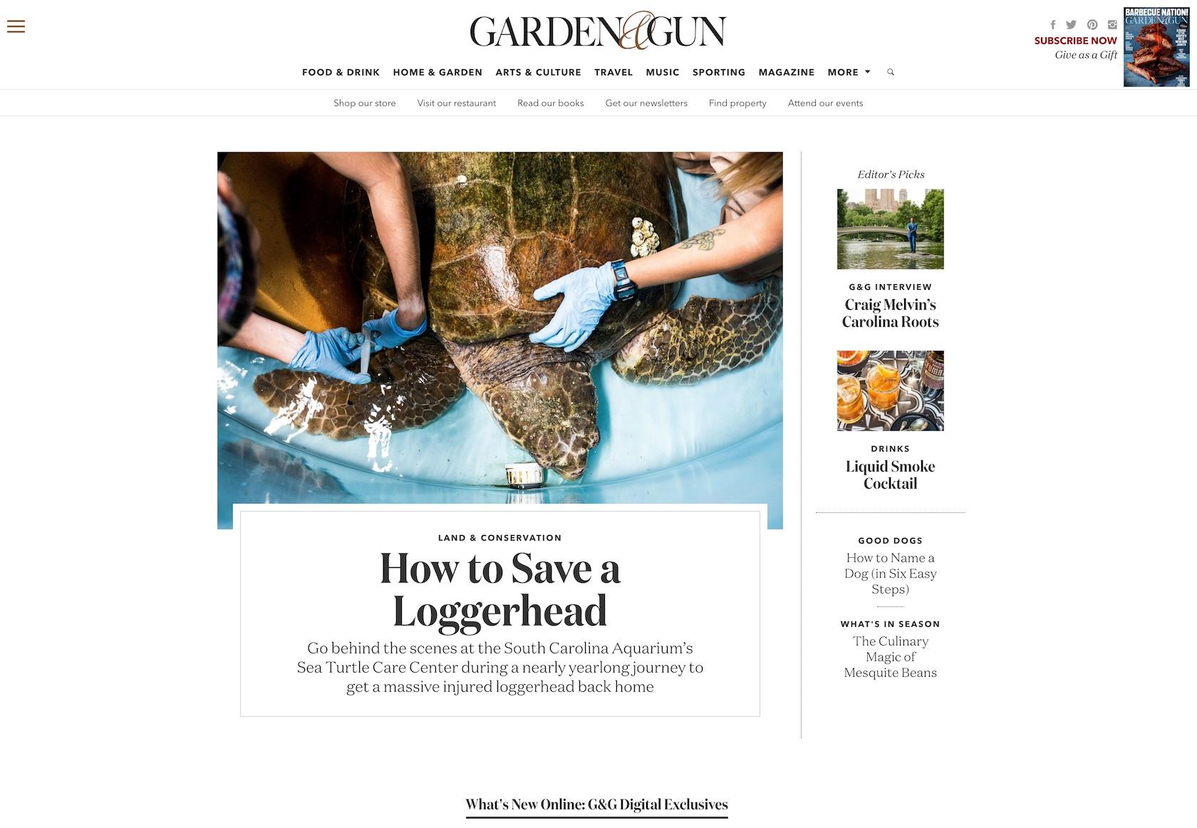 Font combinations for websites: Garden & Gun