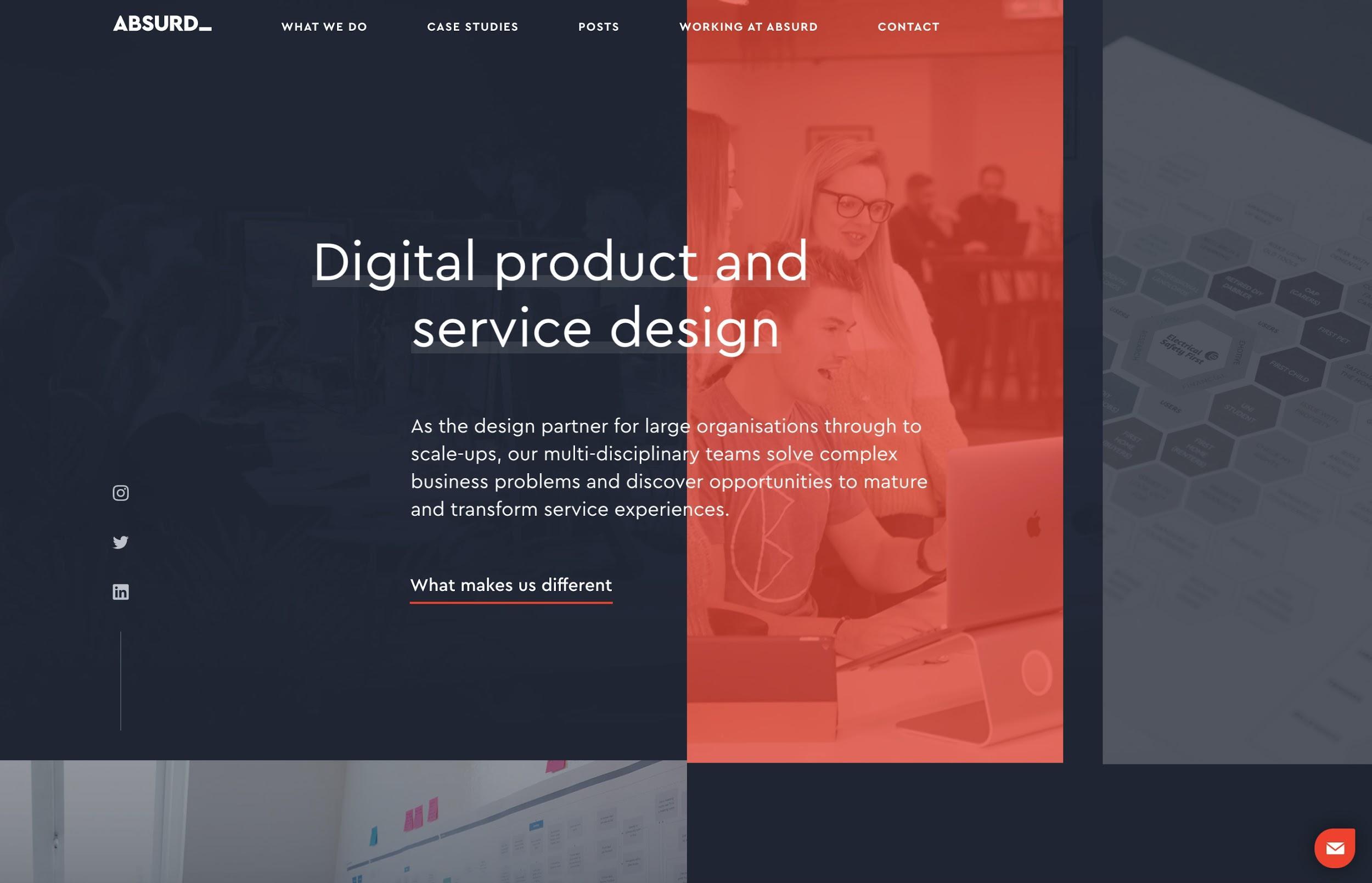 An asymmetrical basic website layout
