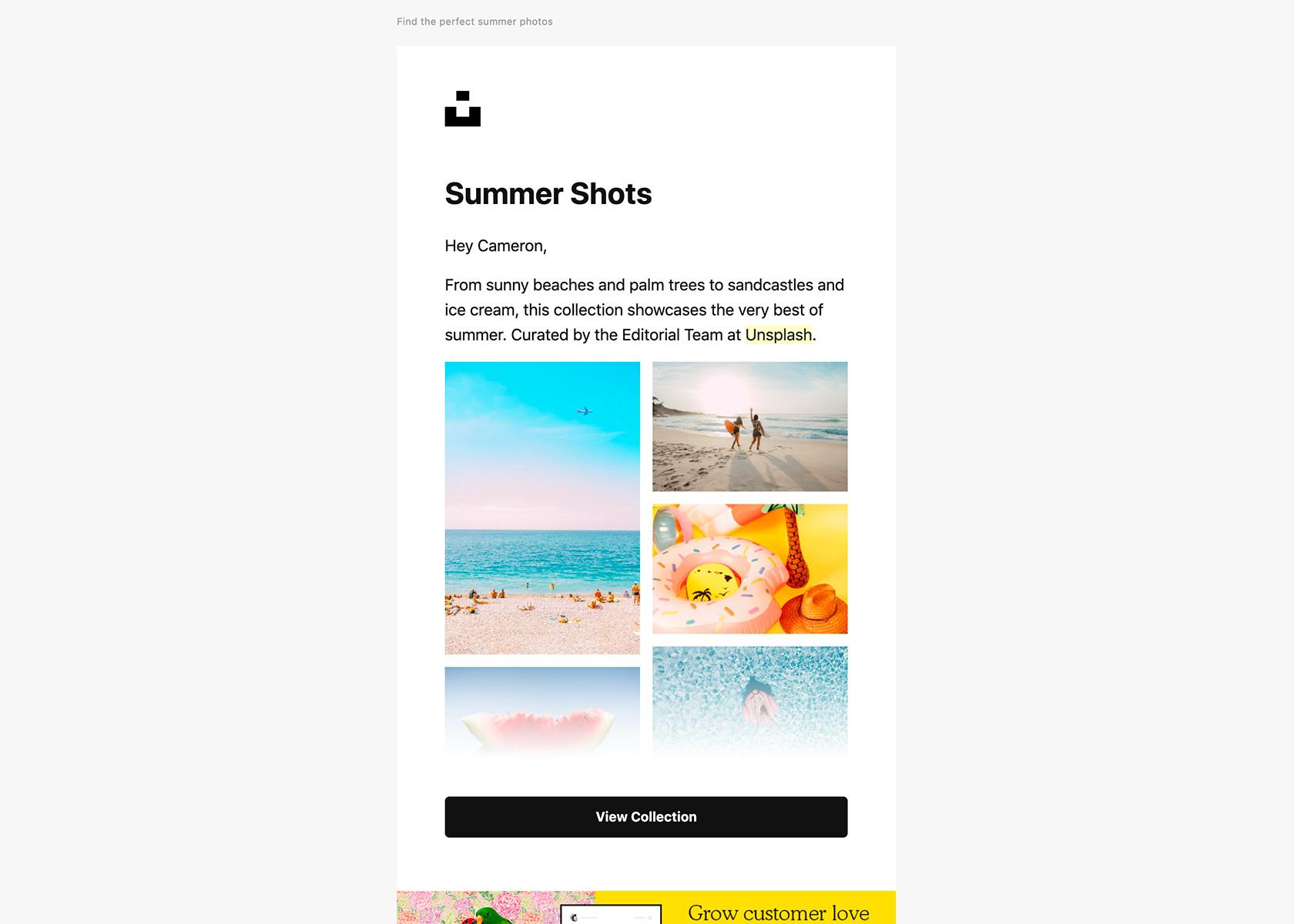 Email design examples: Unsplash