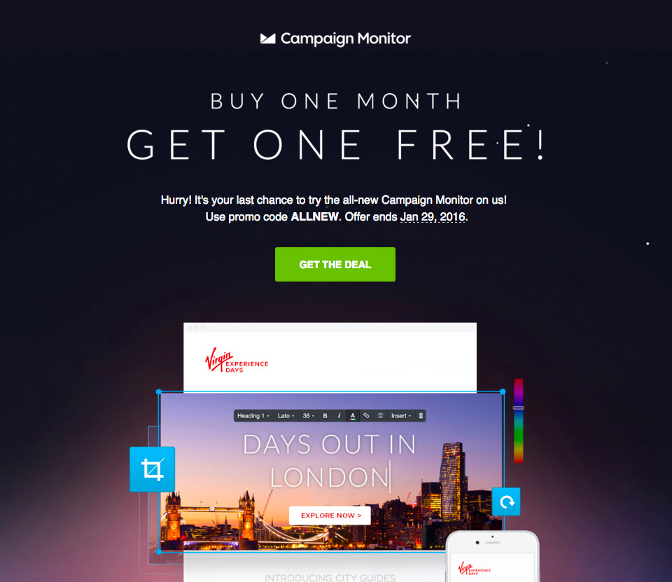 Email template design: contrasting colors for calls to action