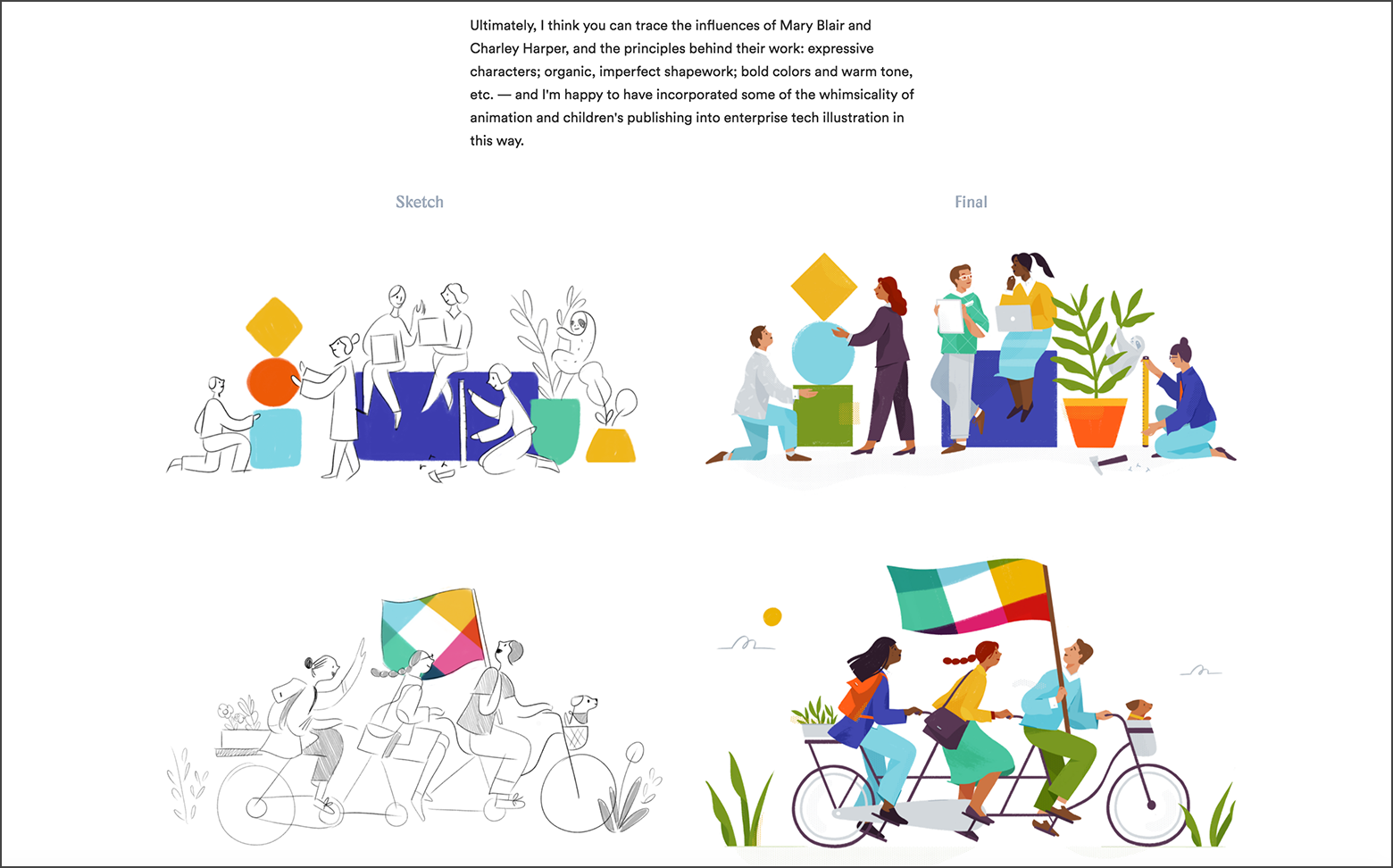 The illustrator hired by Slack demonstrates her design process through a case study.