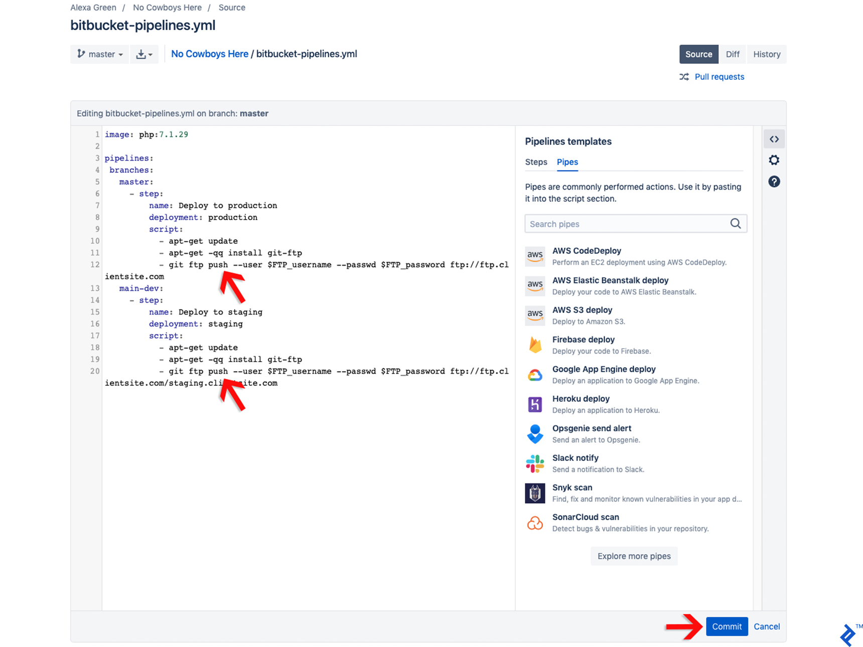 Wordpress Bitbucket screenshot 7