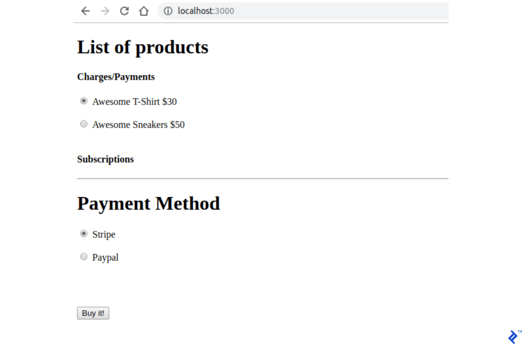 Raw index page without Stripe and PayPal integration
