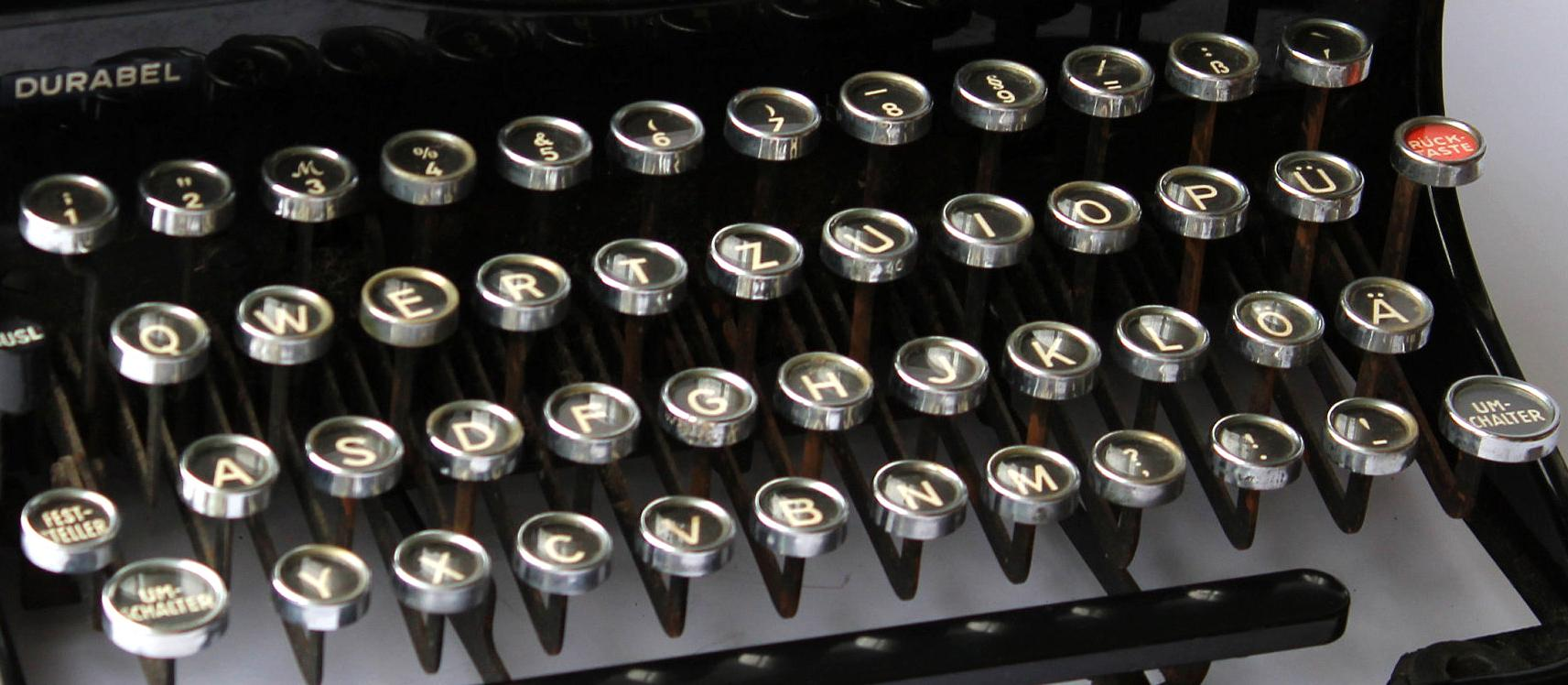 Early typewriter keyboards were part of the evolution of UI design.