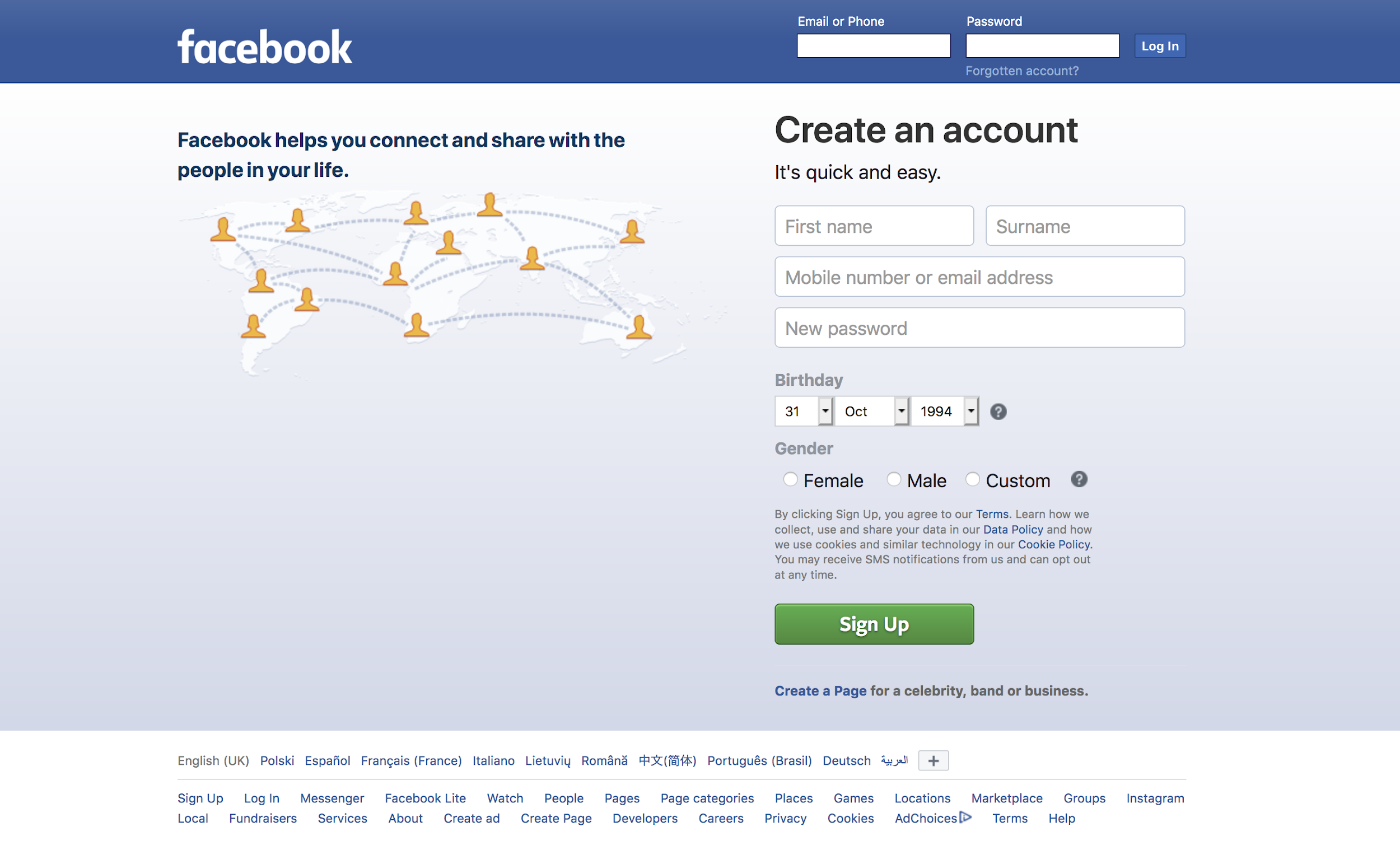 Cross-cultural user interface design Facebook in English